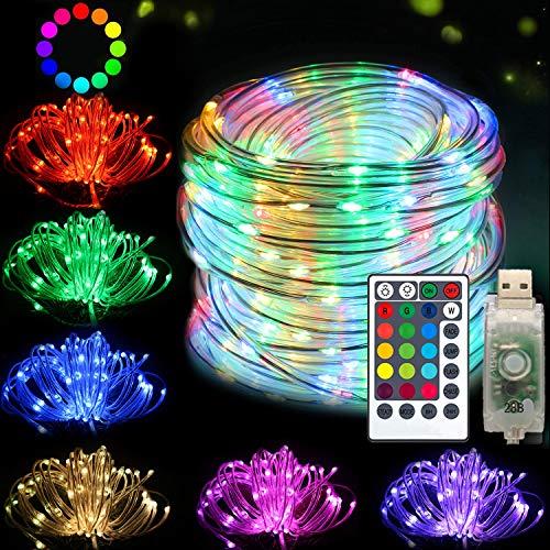 DreiWasser USB Lichtschlauch, 10M 100 LEDs RGB Lichterschlauch Lichterkette Fein Schlauch 8 Modi mit Fernbedienung Wasserdicht Timer für Deko