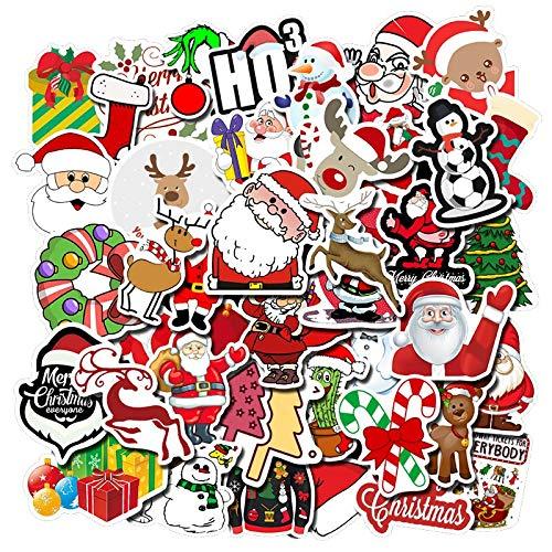 LSPLSP /Pack lindo Santa Claus Navidad pegatinas para muebles pared escritorio diy silla juguete coche tronco ordenador TV guitarra motocicleta etc 50 unids
