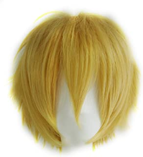 Alacos Unisex Cosplay Show Short Straight Hair Wig Women Men Cartoon Anime Con Party Dress Full Wigs Golden Wig+ Free Wig Cap