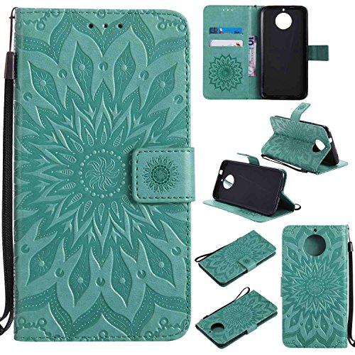 pinlu PU Leder Tasche Etui Schutzhülle für Motorola Moto G6 Plus Lederhülle Schale Flip Cover Tasche mit Standfunktion Sonnenblume Muster Hülle (Grün)