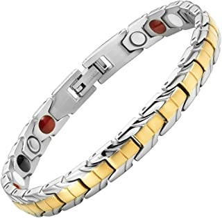 Womens Strong 4 Element Titanium Magnetic Therapy Bracelet for Arthritis Pain Relief Size Adjusting Tool and Gift Box Included