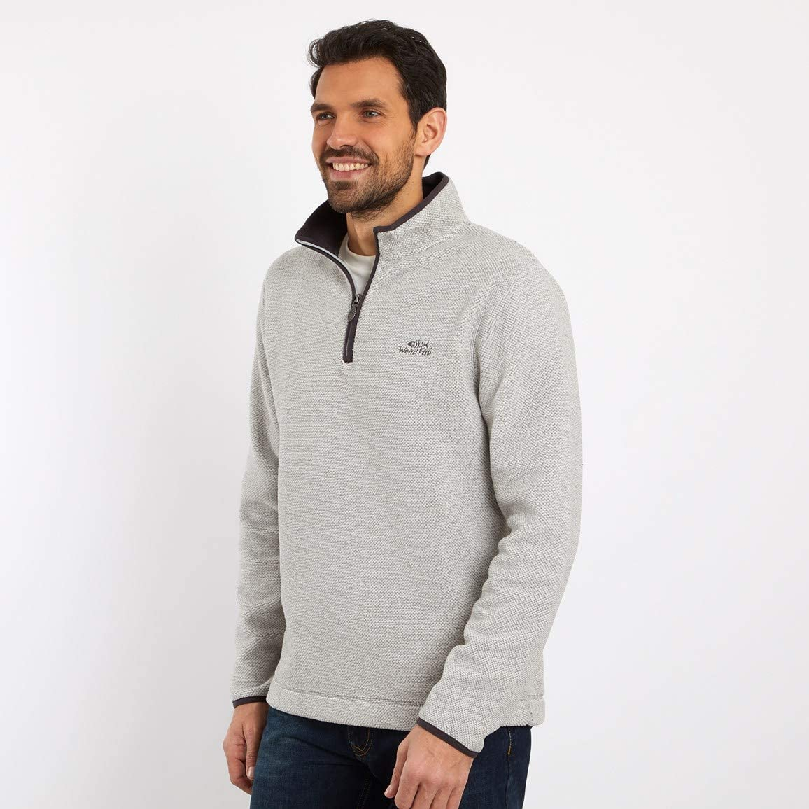 Weird Fish Errill 1//4 Zip Textured Fleece Sweatshirt