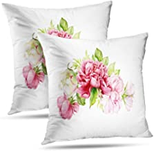 Pakaku Peony Pillowcase, Throw Pillow Covers, Watercolor Bouquet Roses Botanical Watercolor Cushion Cover Gift 2 Sided Pattern 20 x 20, Watercolor Bouquet 02