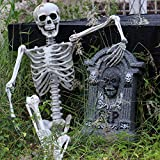 Bokeley Halloween Party Decoration, Poseable Full Life Size Human Skeleton Halloween Decoration Party Prop (White)