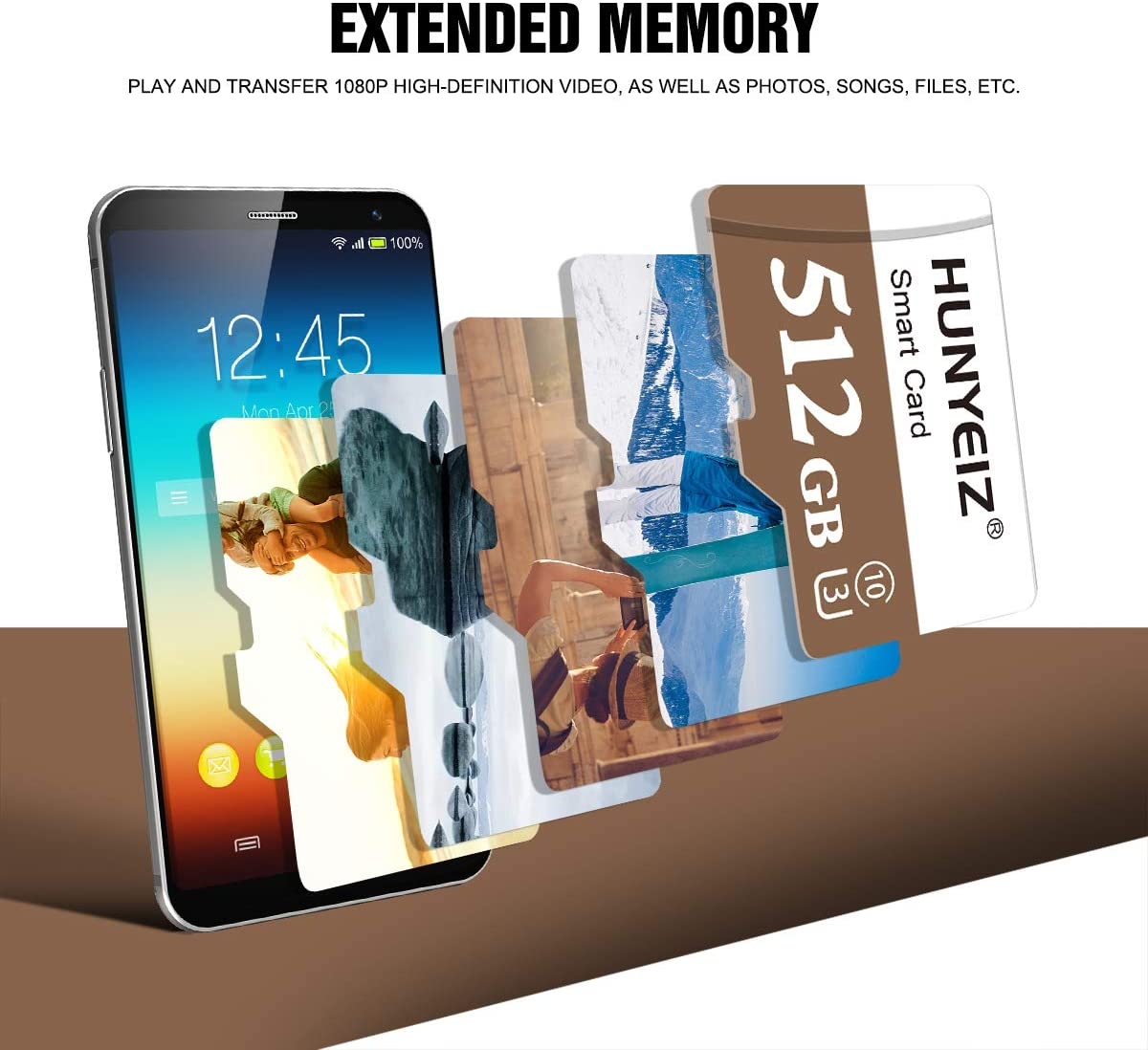 512GB Micro SD Card with Adapter,Class10 MicroSDHC Card Memory Card for Android Smartphone Digital Camera Tablet and Drone