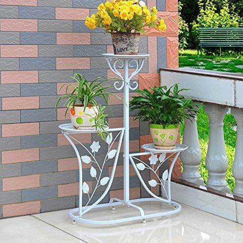 & Pot rack Porte-grille en fer, 3 étagères étagées Stand Bonsai Maison Jardin Décor de patio étagères noires Pots à fleurs décoratifs (Couleur : Blanc, taille : 60 * 29 * 95CM)