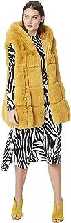 JAYLEY Chaleco con capucha larga de piel sintética