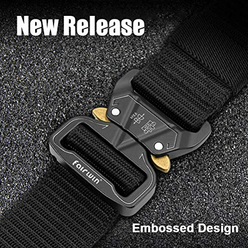 Fairwin Tactical Belt, Adjustable Heavy Duty Belt, Military Style Nylon Quick-Release Belts with Metal Buckle in Gift Box (M(49