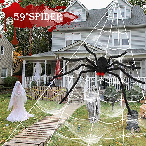 OurWarm 200'' Halloween Spider Web 59'' Giant Spider Halloween Decorations with LED Eyes, Fake Spider Large Spider Web for Indoor Outdoor Halloween Decorations Yard Lawn Home Party Supplies Decor