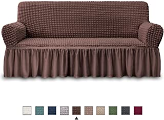 NICEEC Sofa Slipcover Brown Sofa Cover 1 Piece Easy Fitted Sofa Couch Cover Universal High Stretch Durable Furniture Protector with Skirt Country Style (3 Seater Chocolate Brown)