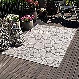 mynes Home Outdoor Teppiche In- & Outdoorteppich Flachgewebe Terrasse Garten Balkon geeigneter Teppich mit 3D Struktur Wetterfest Farbecht Lichtecht, Größe: 120 cm x 170 cm, Farbe: Grau - 2