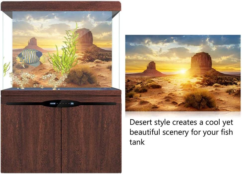 Aquarium Fish Tank Background Poster Sun and Desert Style PVC Adhesive Decor Paper Sticker 61*41cm