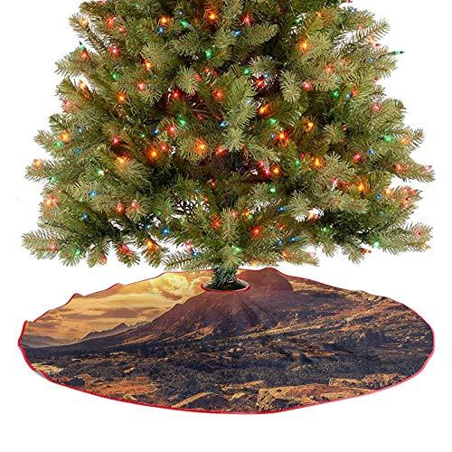 Alfombra para árbol de Navidad, diseño de Alpes italianos, con piedras del norte de Italia, granito, plantas silvestres, imagen escénica, ideal para fiestas y fiestas de Navidad, 77 cm