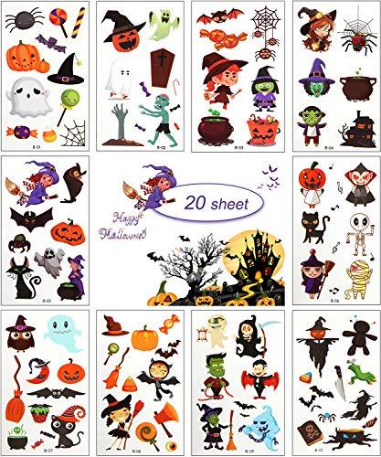 MEIXI 20 Fogli Tatuaggi Temporanei Bambini,Tema Halloween Tatuaggi per Bambini Delicato sulla Pelle,Impermeabile Tatuaggi Finti per,Tatuaggio Temporaneo Decorazioni Puntelli di Halloween