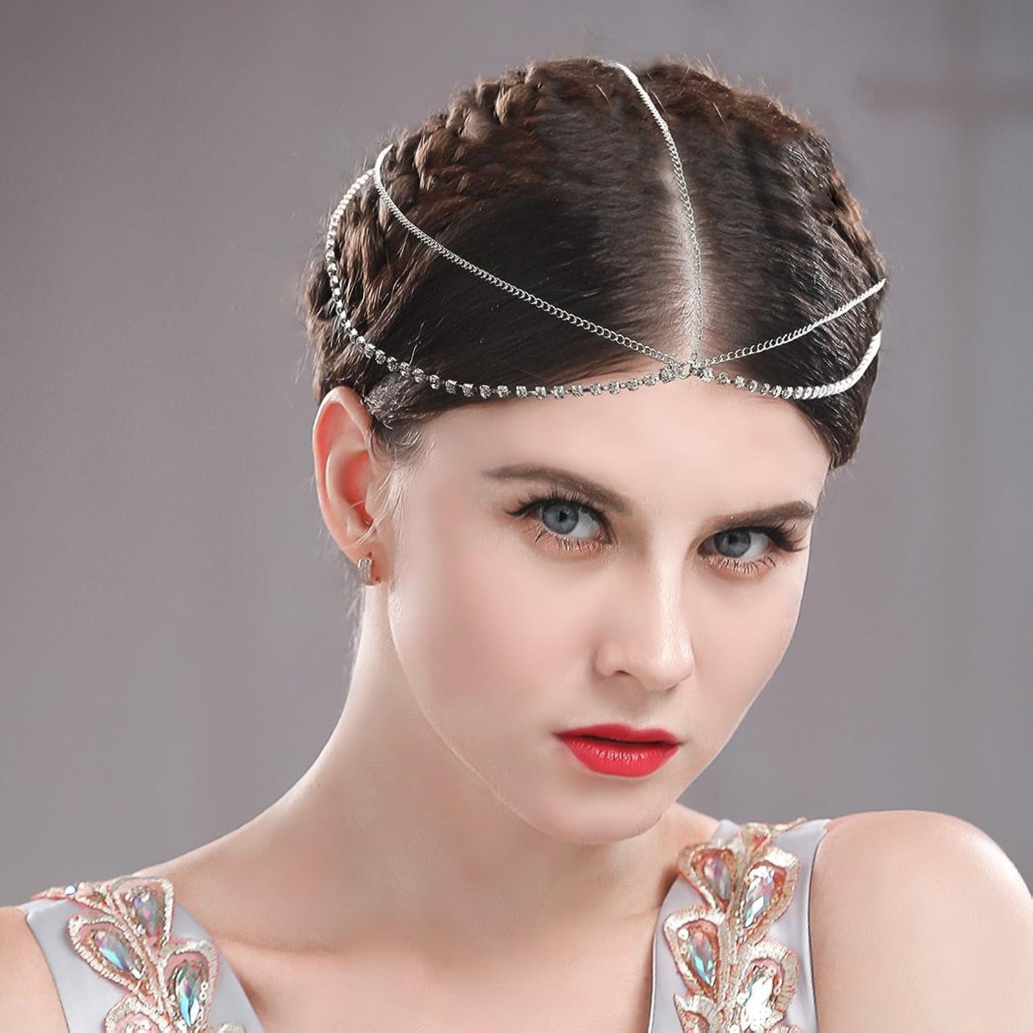 Edary Boho Headband, Wedding Headpiece for Women and Girls (Silver)