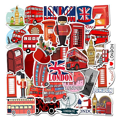 LVLUO Etiqueta engomada Impermeable de la Cabina del teléfono del autobús Rojo de Londres Etiqueta engomada del Juguete del Equipaje del monopatín de la Motocicleta del Ordenador portátil 50 Uds