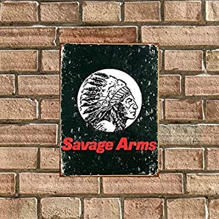 jkhflahufeillay Vintage Savage Arms Logo Classic Tin Sign Bar Pub Home Wall Decor Metal Art Poster Retro Tavern Cake Hambuger Food Cafe Club Plaque