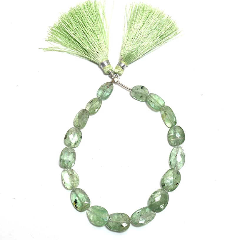 Natural Green Kyanite, Listed by BESTINBEADS, AAA Quality Faceted Flat Tumble Straight Drill semi Precious Gemstone Bead Strand 4 inches Long.