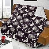 Mantas de Tiro Art Sun Moon Faces and Stars1 Manta de Franela Sherpa Reversible Mantas de Microfibra de Felpa Suave y difusa para sofá Cama Sofá
