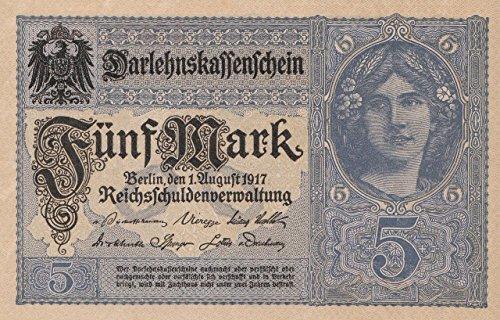 Deutsches Reich Rosenbg: 54b, 8stellige Kontrollnummer, Vs. graublau bankfrisch (I) 1917 5 Mark (Banknoten für Sammler)