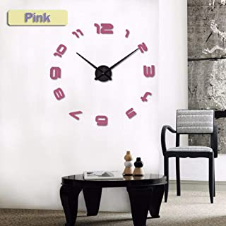 PENFU Wall Clock Quartz Watches Watches 3D Wall Clock Large Real Hurried Mirror Sticker DIY Modern Design Furniture-Pink_4...