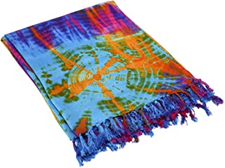 Blue, Pink and Orange Tie Dye Shawl/Sarong/Scarf (70IN by 43IN)