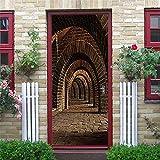 N-A Puerta 2PCS / Set engomada del PVC Autoadhesivo Impermeable extraíble 3D Decoración Estante del Vino Etiquetas de DIY Arte de Pared Pegatinas Porte (Color : Dzmt020, Sticker Size : 77x200cm)