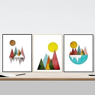 Nacnic Ensemble de 3 Photos pour encadrer Les Montagnes géométriques. Affiches avec Images géométriques, Format 30x40 cm s...