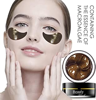 Under Eye Mask Gold Eye, Collagen Anti-Aging UnderMask Black Pearl Eye Patches, Reduce Wrinkles, Fine Lines, Puffiness, Crow's Feet, Dark Circles, Dryness by Puriderma