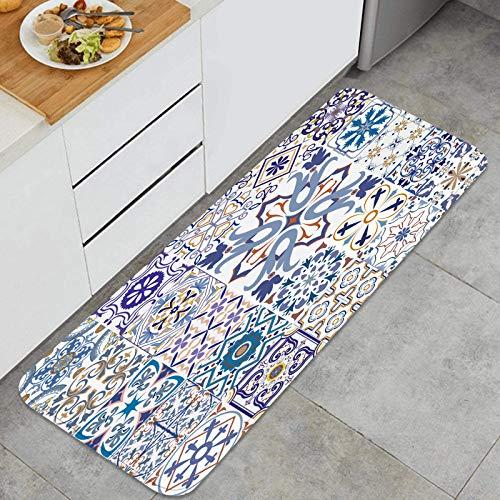 TTLUCKY Juegos de alfombras de Cocina Multiusos,Gran Vector Set Azulejos Fondo de Pantalla,Alfombrillas cómodas para Uso en el Piso de Cocina súper absorbentes y Antideslizantes