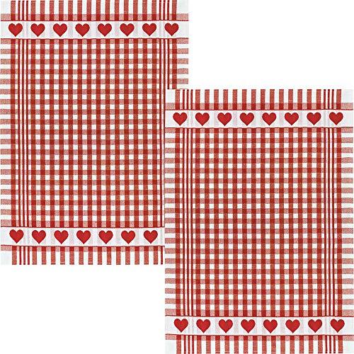Kracht Geschirrtuch 2er-Pack Halbleinen Karo/Herz rot Größe 50x70 cm