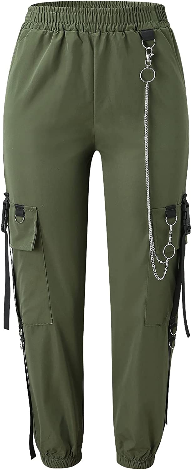 Women's Outdoor Lightweight Sportswear, Hiking Pants with Pockets Loose Sport Cargo Work Pant with Chain