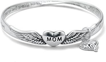 Inspired Silver Beautiful Mobius Style The Mom Prayer Twist Heart Charm Bangle Bracelet