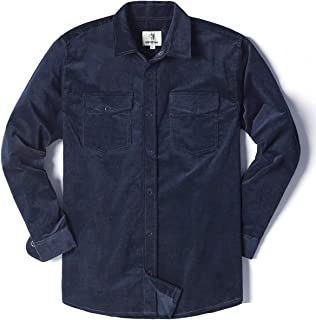 Mens Long Sleeve Thick Corduroy Shirt Casual Button Down Jackets