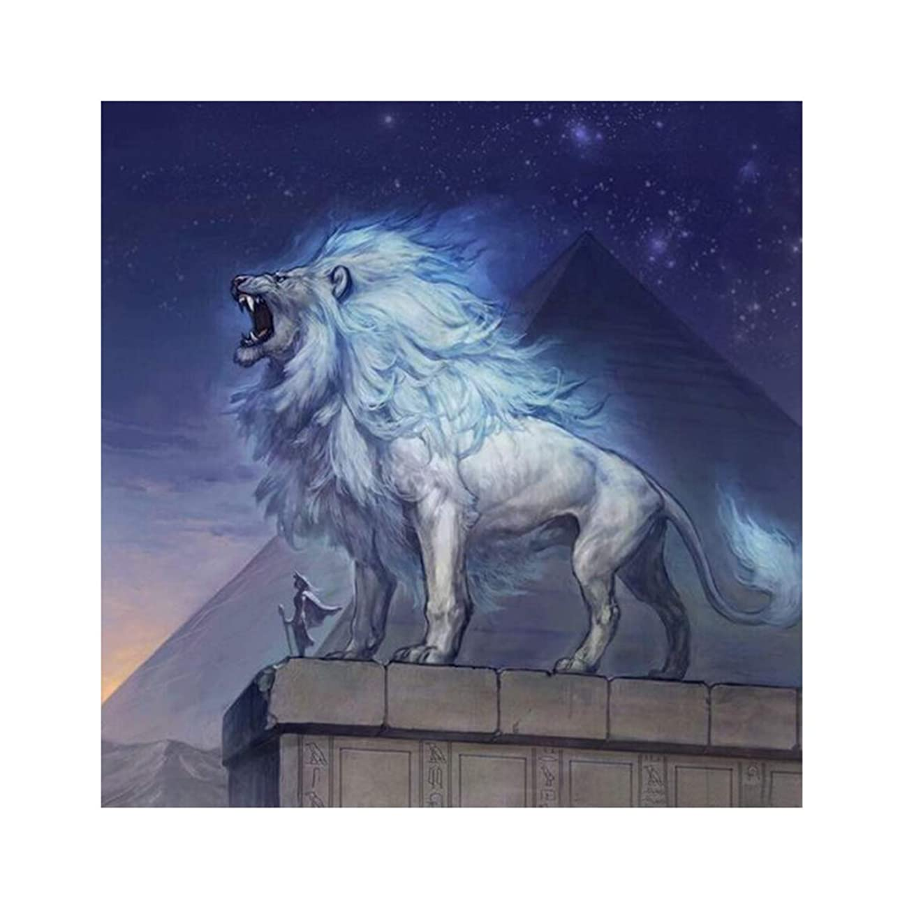 5D Diamond Painting for Adult DIY Full Drill Diamond Art Kits Square Rhinestone Embroidery by Numbers Roaring Lion 11.8X15.7inch