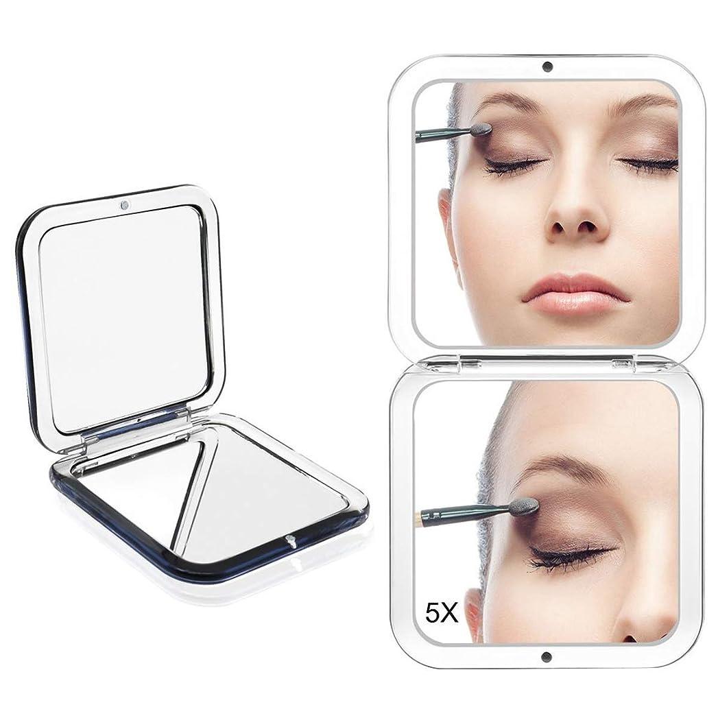 すり減る偽善昨日コンパクトミラー 化粧鏡 ミラー 5倍拡大鏡+等倍鏡 ハンドミラー 手鏡