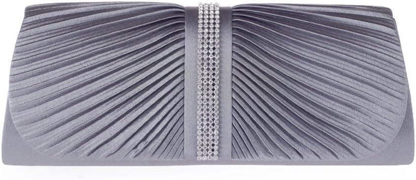 Womens Elegant Pleated Crystal Rhinestone Satin Handbag Evening Clutch Evening Bag Grey