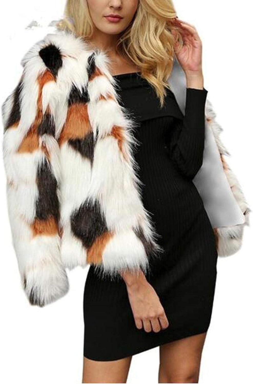 Smileyth Women Short Faux Fur Warm Coats Jacket Multicolor Long Sleeve Winter Shaggy Open Front Cardigans Outerwear