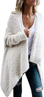 Women's Open Front Knit Fleece Long Sleeve Wrap Robe Cardigans