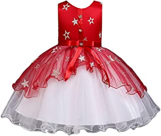 LvRao Girl's Ball Gown Bridesmaid Dresses Star Embroidered Prom Dress Bowknot Tulle Skirt
