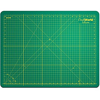 Crafty World Professional Self-Healing Double Sided Rotary Cutting Mat - Long Lasting Thick Non-Slip 18  x 24  Mat that Provides Easy Cuts for Fabric, Quilting, Sewing, and All Arts & Crafts Projects