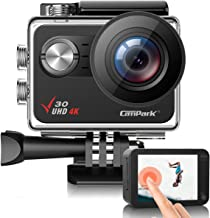Campark V30 Native 4K Action Camera 20MP EIS Touch Screen WiFi Waterproof PC Webcam with Optional View Angle, 2 1350mAh Ba...