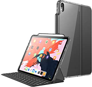 i-Blason Case for iPad Pro 12.9 Inch (3rd Generation) 2018, [for Use ONLY with Smart Keyboard; Compatible with Official Smart] [Halo V2.0] Clear Protective Case with Pencil Holder, Black, 12.9