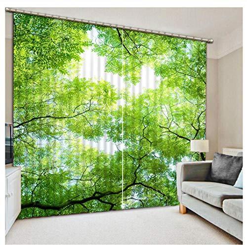 MUXIAND Rond gatengordijn Op zoek naar de groene planten Solide Thermische Geïsoleerde Kamer Verduisterende Gordijnen Verduisterende Ooggordijnen voor Woonkamer