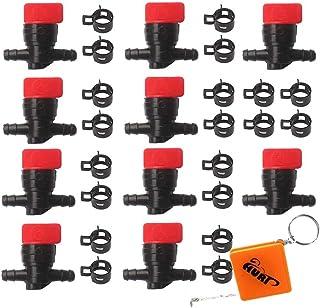 HURI 10x Kraftstoffhahn Benzinhahn mit Schellen für 6mm   8mm Schlauch Ersetzt B&S Briggs & Stratton 698183, 494768, 493960, 491860, Wolf 2058063, 2059063, AM36141 AM107340
