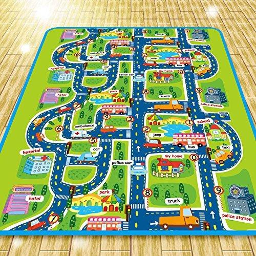 Alfombra de juego para niños, 0,5 cm de espesor. Diseño de ciudad con tráfico, 160 x 130 cm