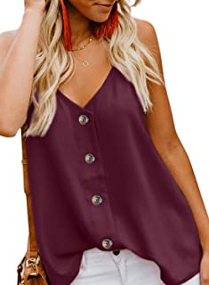 FARYSAYS Women's Casual V Neck Button Down Strappy Cami...