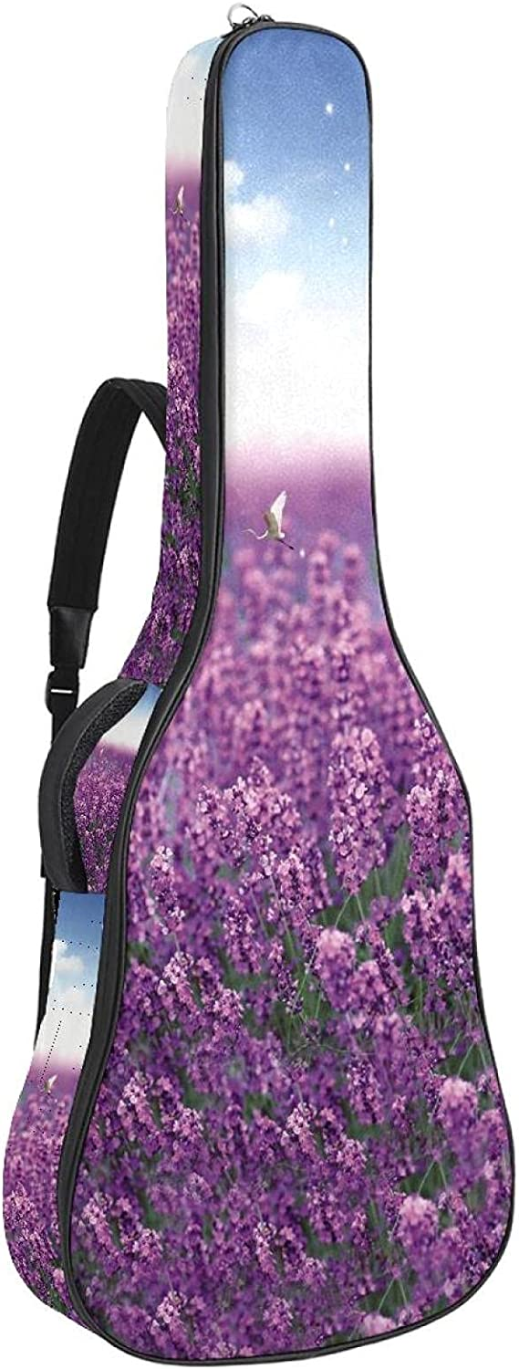 Acoustic Guitar Max 41% OFF Bag Ranking TOP6 Beautiful Lavender With Birds Flowers Field