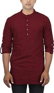 Jay Fashions Mens Solid Cotton Kurta - MAROON