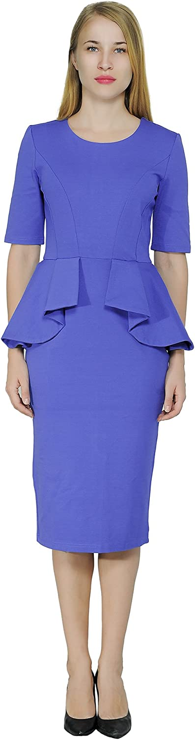 Marycrafts Women's Classy Peplum Pencil Dress for Work Office Church